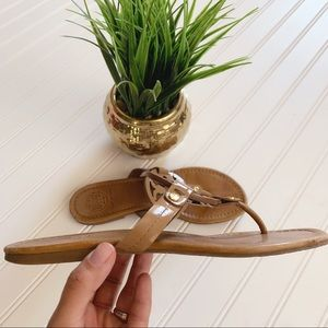 Tory Burch Patent Leather Miller Flip Flop Sandals